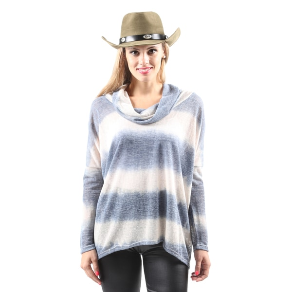 Hadari Women's Casual Long Sleeve Cowl Neck Denim Tie-Dye Blouse