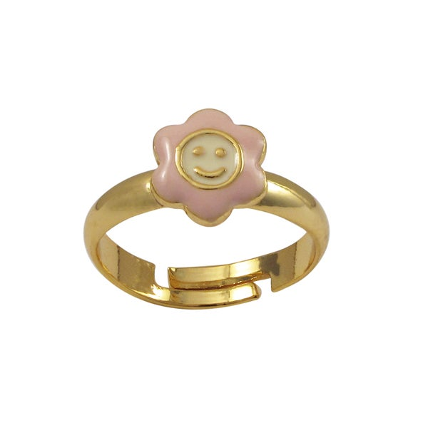 Luxiro Gold Finish Pink Enamel Smiley Face Flower Adjustable Children's Ring