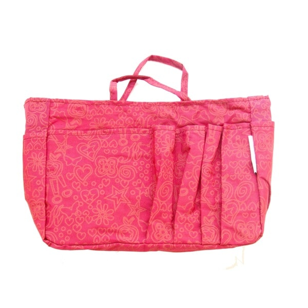 The Plaid Purse Fuchsia Hearts Pink Nylon Organizer