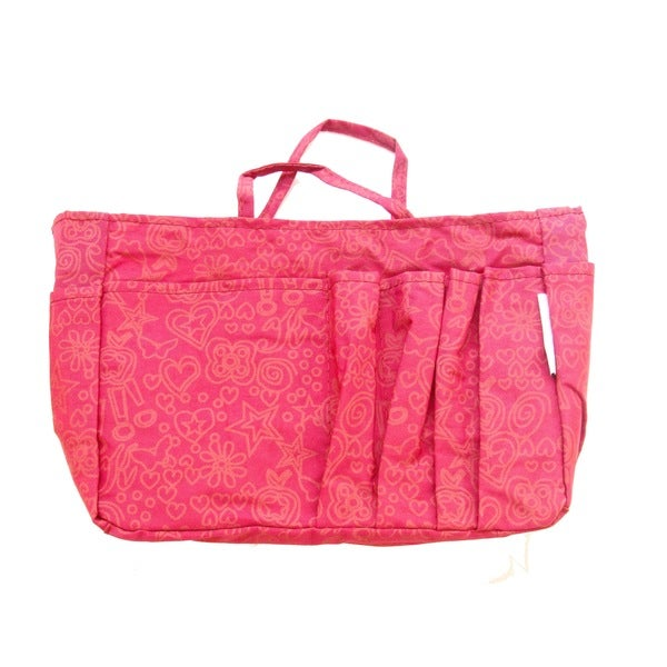 The Plaid Purse Fuchsia Hearts Pink Nylon Organizer