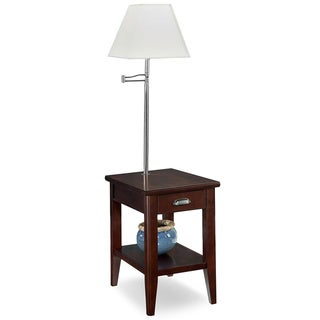 KD Furnishings Laurent Brown Wood Chairside Lamp Table