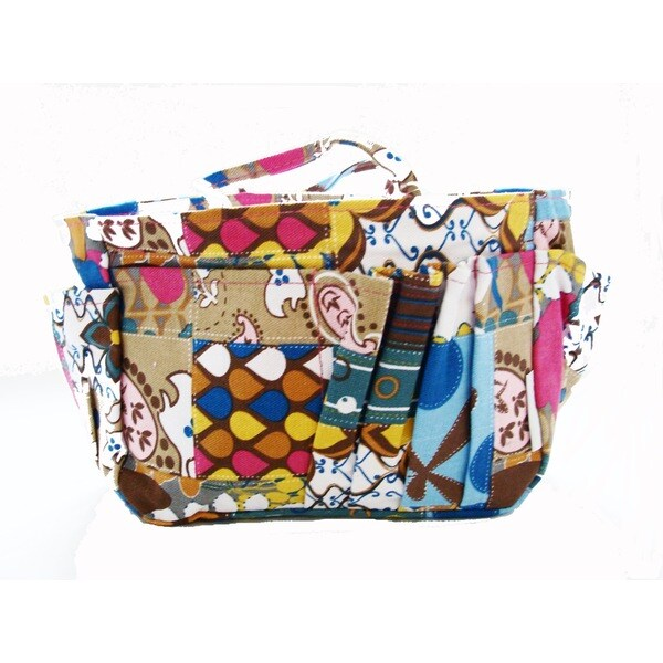 The Plaid Purse Patchwork Multicolored Fabric Floral-print Organizer