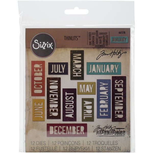 Sizzix Thinlits Dies 12/Pkg By Tim Holtz-Block Calendar Words