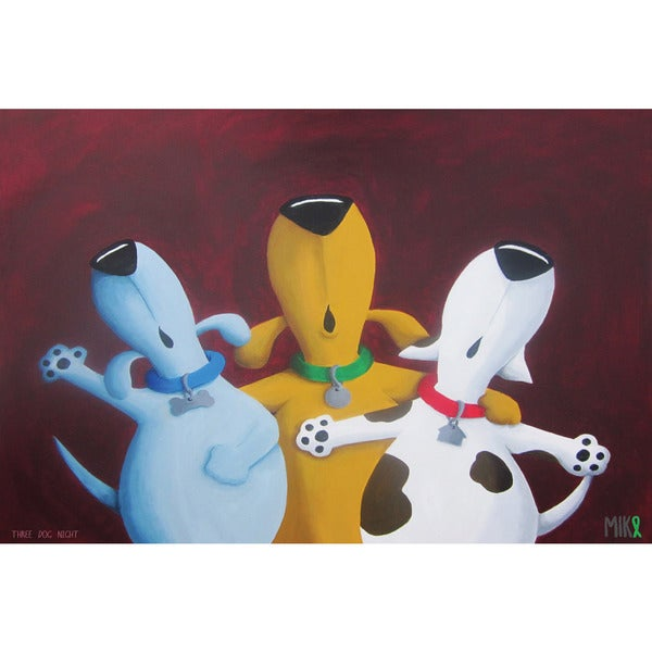 Marmont Hill - 'Three Dog Night' by Mike Taylor Painting Print on Wrapped Canvas