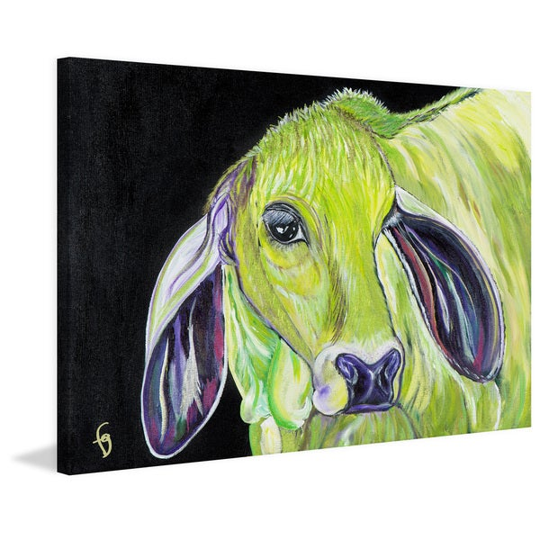 Marmont Hill - 'Marion the Shy Brahmin' by France Gilbert Painting Print on Wrapped Canvas