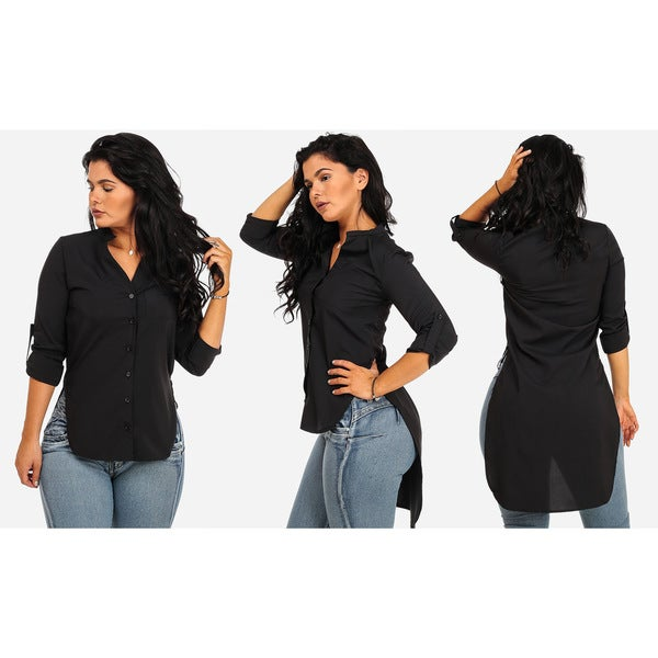 Junior's Black Polyester/Spandex High-Low Tunic Shirt