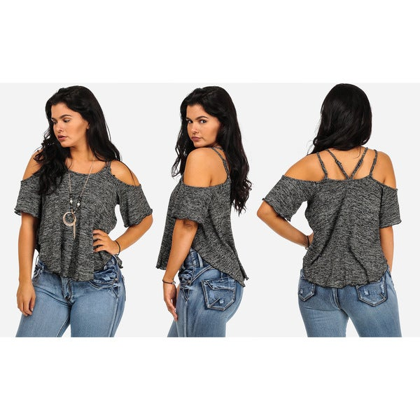 Juniors' Cold Shoulder Short Sleeve Tops with Necklace