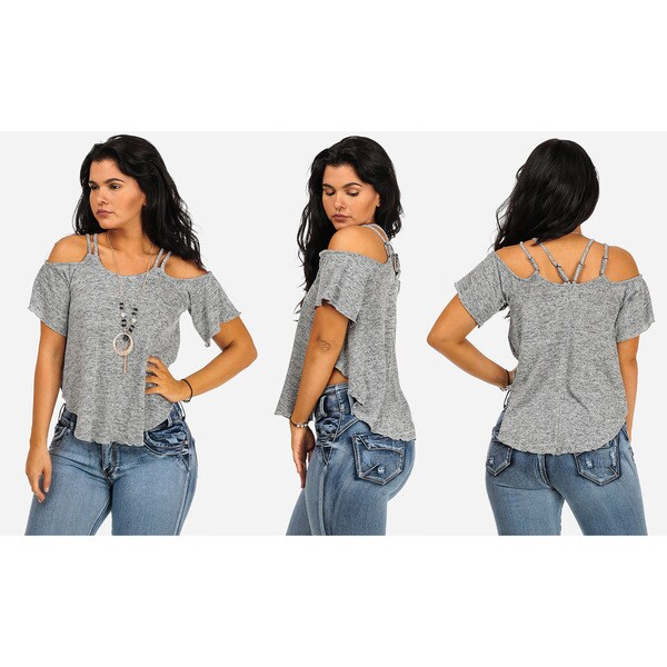Juniors' Cold Shoulder Short-sleeve Top with Necklace