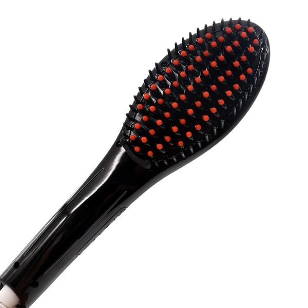 Fast Hair Black Straightening Brush with LED Display - Black
