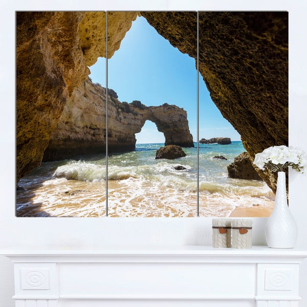 Designart 'Portugal Coast with Amazing Caves' Oversized Landscape Canvas Art