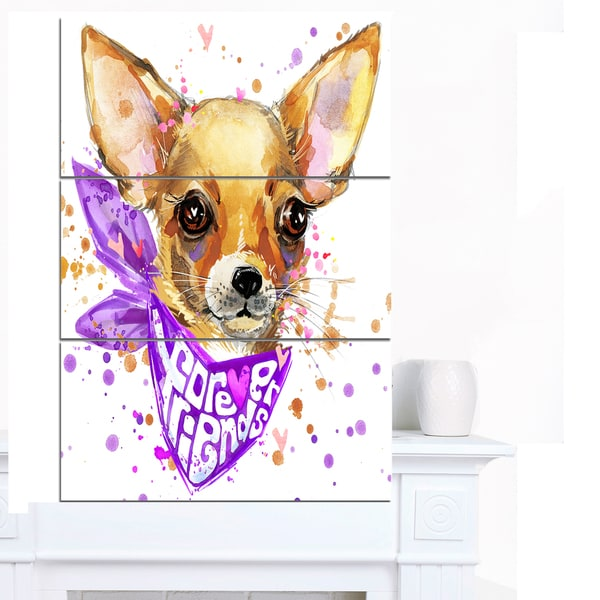 Designart 'Cute Puppy Dog with Neck Shawl' Contemporary Animal Art Canvas