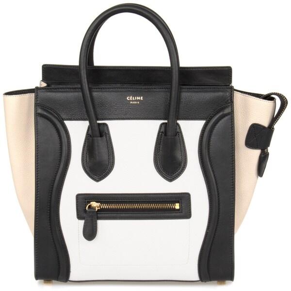 Celine Micro Luggage Tri-Color Bone/Tan/Black Leather Handbag