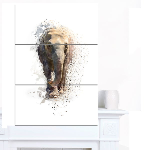 Designart 'Large Elephant Portrait' Large Animal Art on Canvas
