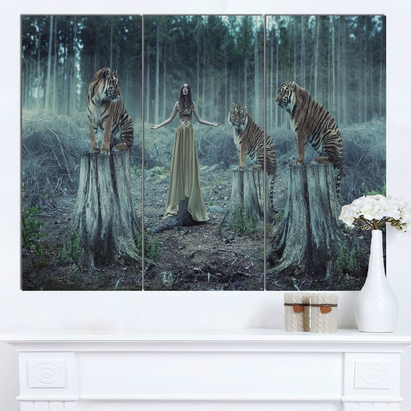 Designart 'Female Trainers with Tiger' Animal Artwork on Canvas