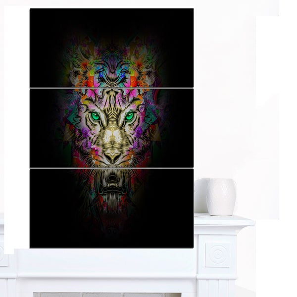 Designart 'Fierce Tiger Head on Black' Animal Artwork on Canvas