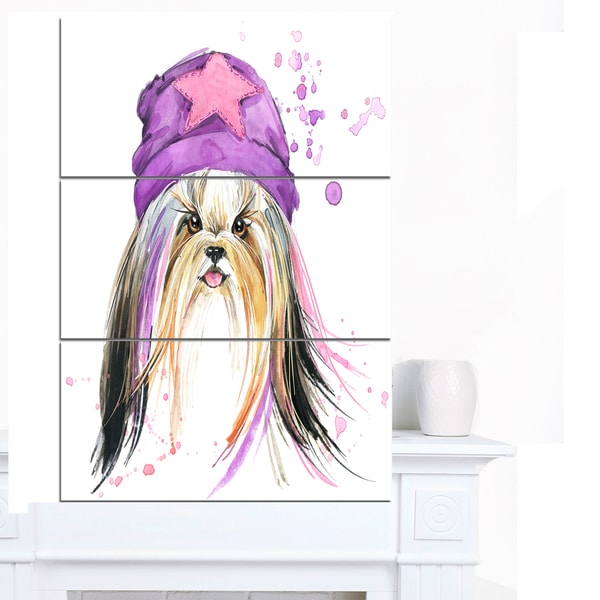 Designart 'Cute Dog with Starred Hat' Animal Canvas Wall Art