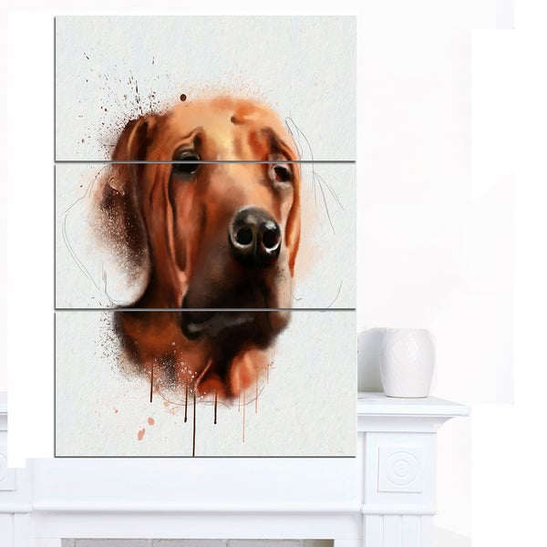 Designart 'Brown Dog Face Watercolor' Large Animal Wall Artwork