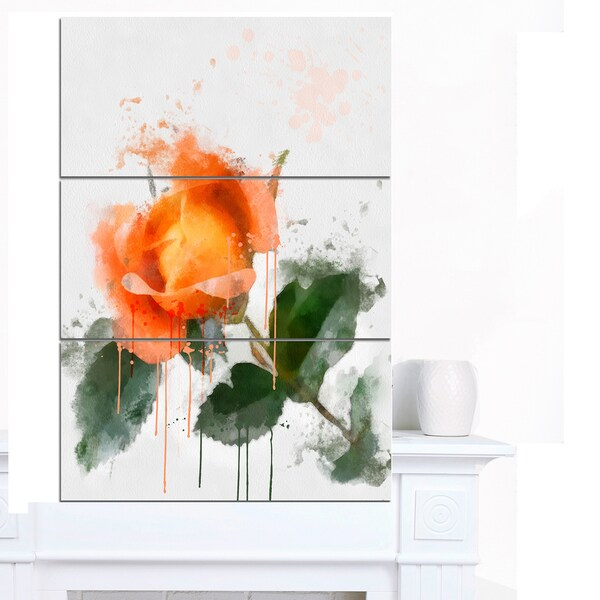 Designart 'Orange Rose Sketch Watercolor' Modern Floral Canvas Wall Art