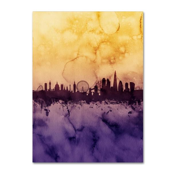 Michael Tompsett 'London Skyline Tall Yellow' Canvas Art