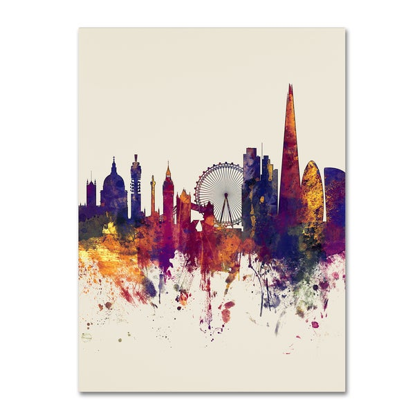 Michael Tompsett 'London Skyline Tall Beige' Canvas Art