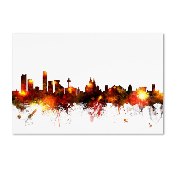 Michael Tompsett 'Liverpool England Skyline Red' Canvas Art