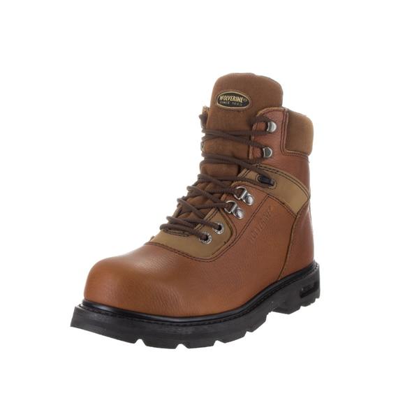 Wolverine Men's Brown Leather Steel Toe Wide Boot