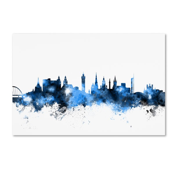 Michael Tompsett 'Glasgow Scotland Skyline White' Canvas Art