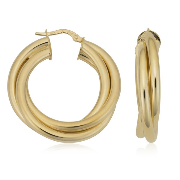 Fremada Italian 10k Yellow Gold 6x20-mm Triple Hoop Earrings 22409650