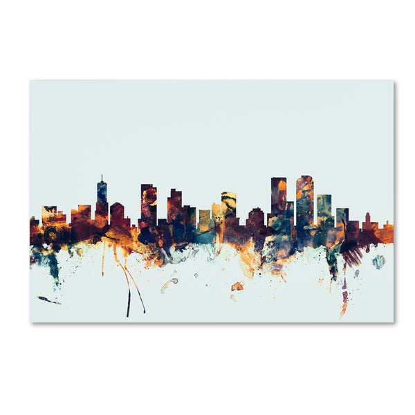 Michael Tompsett 'Denver Colorado Skyline Blue' Canvas Art