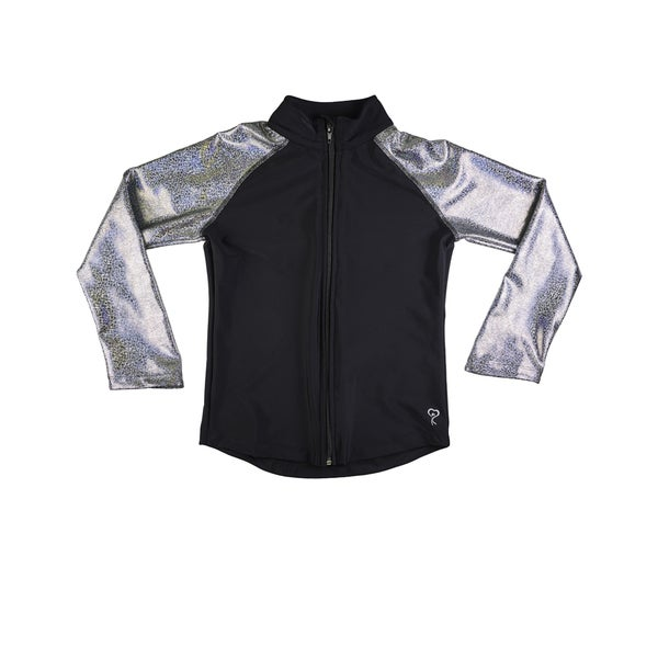 Girl Power Sport favorite silver metallic active wear jacket