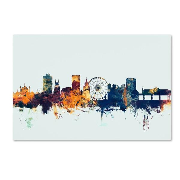 Michael Tompsett 'Brighton England Skyline Blue' Canvas Art