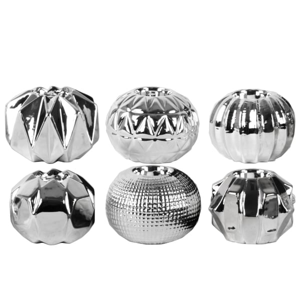 Urban Trends Collection Chrome-finish Silver Ceramic 6-piece Round Tealight Candle Holder Assortment 22411196