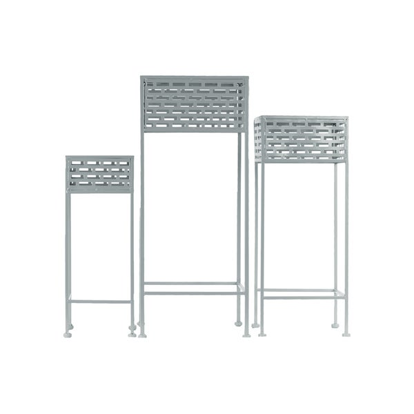 Urban Trends Collection 3-coat Grey Pierced Metal 3-piece 3-leg Plant Stand Set