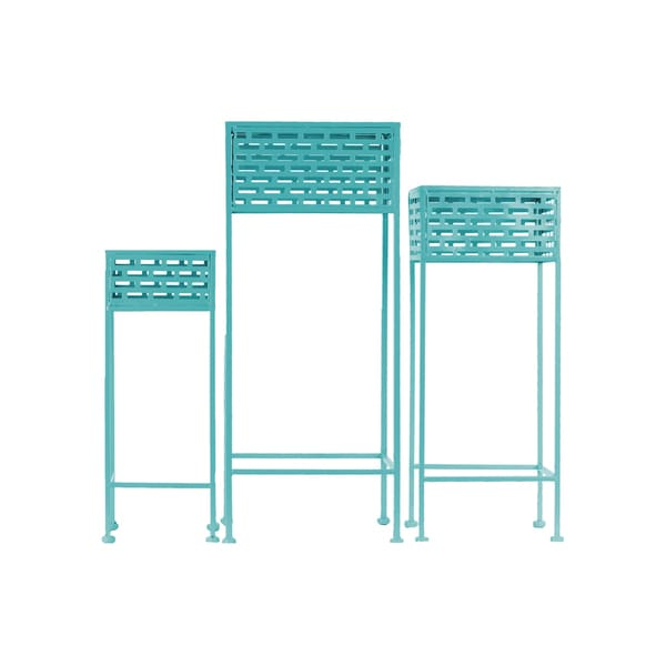 Urban Trends Collection Pierced Blue Metal Square 3-leg Plant Stands (Pack of 3)