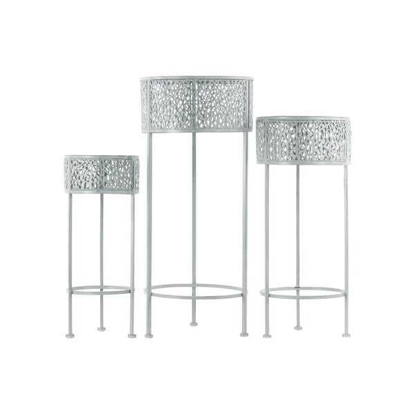 Urban Trends Collection Pierced Grey Metal Round 3-leg Plant Stand (Pack of 3)