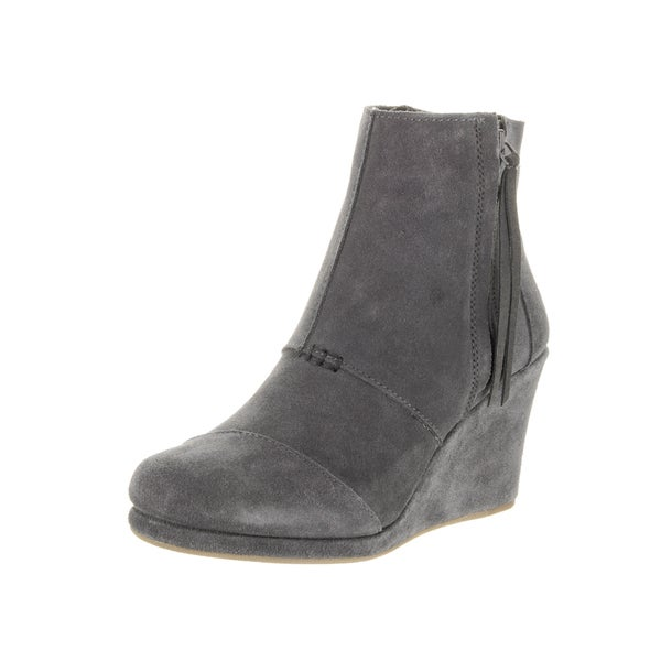 Toms Women's Desert Grey Suede Wedge High Boot