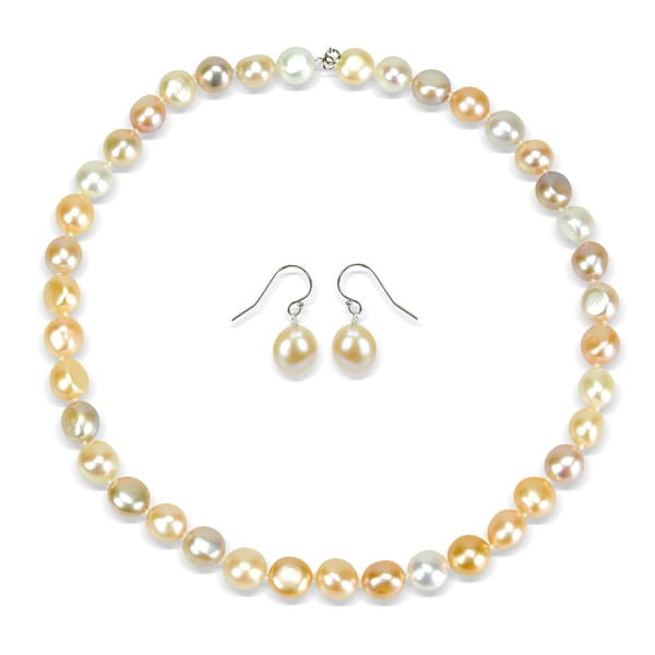 DaVonna Sterling Silver 10-12mm Multi Pink Baroque Freshwater Cultured Pearl Necklace and Hoop Earrings Set, 18""