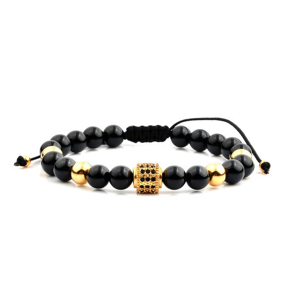 Men's 18K Gold Plated Stainless Steel Cubic Zirconia Black Onyx Bead Adjustable Bracelet - 8 inches (8mm Wide)