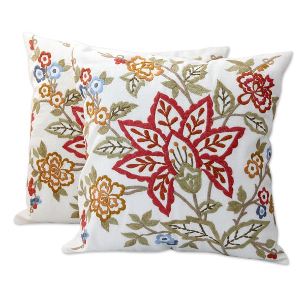 Pair of 2 Embroidered Cotton Cushion Covers, 'Jaipur Meadow' (India)