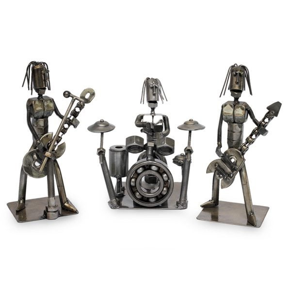 Set of 3 Auto Part Sculptures, 'Heavy Metal Band' (Peru)