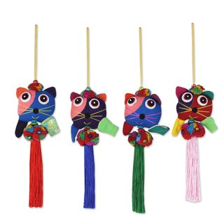 Handmade Set of 4 Cotton Ornaments, 'Happy Thai Cats' (Thailand)