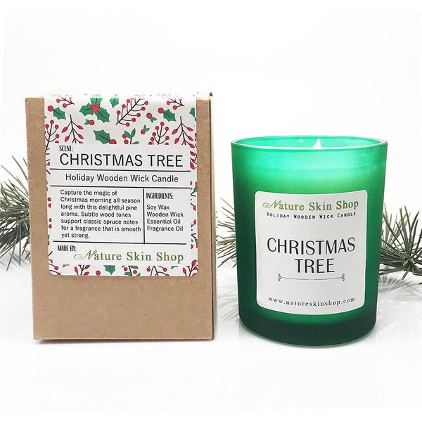 Christmas Tree Wooden Wick Candle