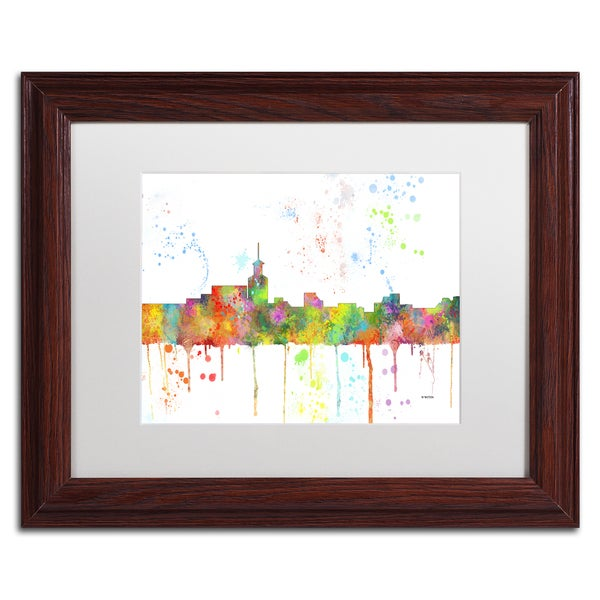 Marlene Watson 'Santa Fe New Mexico Skyline Mclr-1' Matted Framed Art 22428328