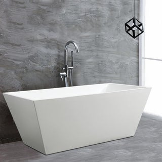 Vanity Art 67 inch Freestanding Acrylic Bathtub Stand Alone Soaking Tub with Chrome Finish Easy to Install & Pop-up Drain