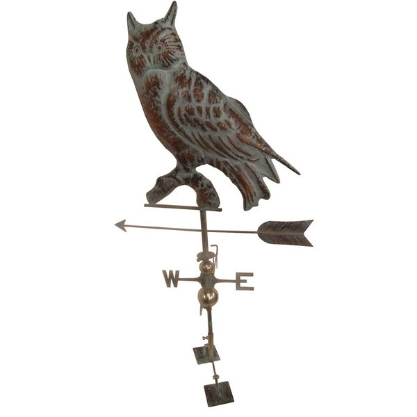 LARGE Handcrafted 3D 3-Dimensional OWL Weathervane Copper Patina Finish