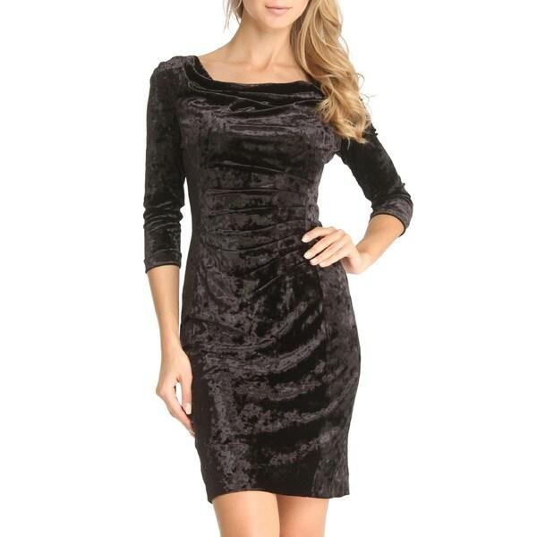 Tahari Michelle Black Crushed-velvet Dress