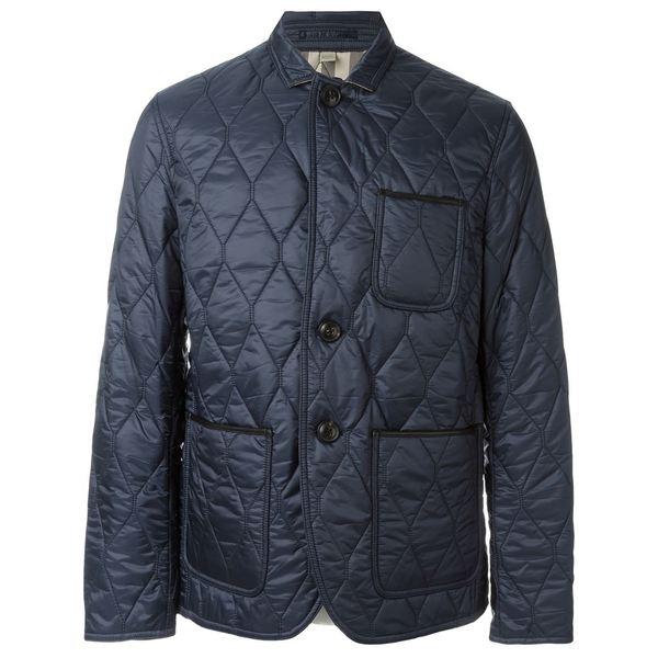 Burberry Men's Gillington Large Blue Quilted Jacket