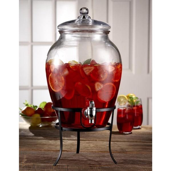 Style Setter Soho Glass 338oz Beverage Dispenser With Metal Rack 22436309