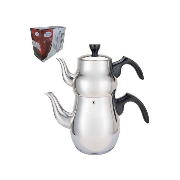 Silvertone/Black Stainless Steel Double Tea Kettle