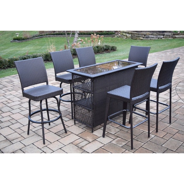 7 Piece Merit Resin Wicker Bar Set with Four Swivel Bar Stools and Two Bar Stools